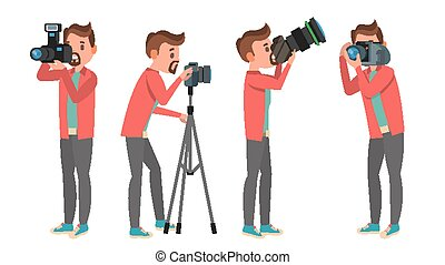Professional Photographer Vector. Male In Different Poses....