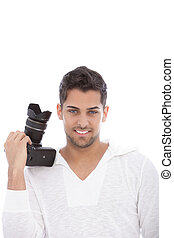 Professional photographer with his camera