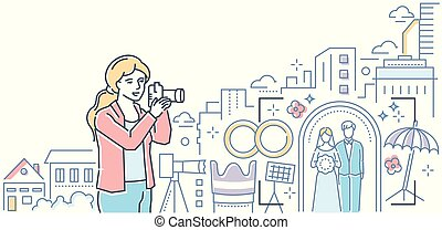 Professional photography - colorful line design style illustration