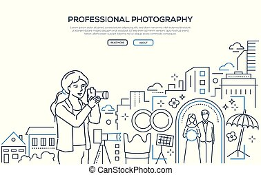 Professional photography - line design style web banner