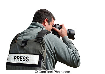 Professional Photojournalist - A press photographer takes...