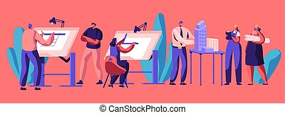 Professional Planning Architecture of House. Character Engineering. Construction Development and Building Layout. Flat Cartoon Vector Illustration. Flat Cartoon Vector Illustration