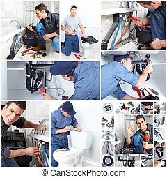 Professional plumber. - Young professional plumber doing...