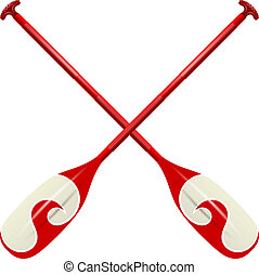 Professional red canoe oars