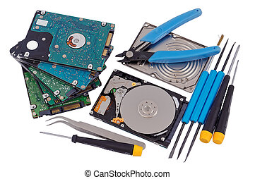 Professional repair of  hard drives concept