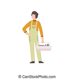 Professional Repairman with Toolbox, Auto Mechanic Character in Uniform Working In Car Repair Service Vector Illustration