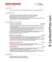 Professional Resume Template, vector