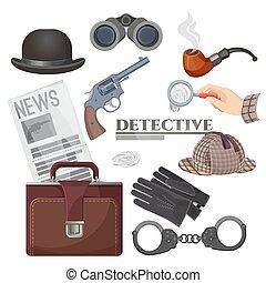 Professional retro detective accessories big isolated cartoon illustrations set