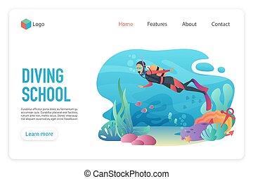 Professional scuba diver man underwater. Diveng club. Diving school landing page template vector illustration.
