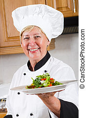 professional senior female chef