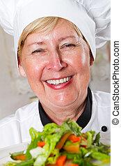 professional senior female chef