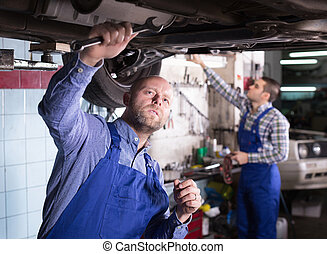 Professional serviceman repairing car