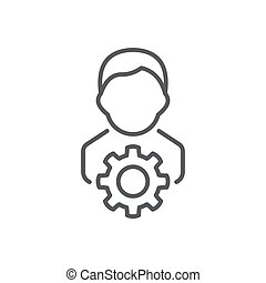 Professional services icon, color, line, outline vector sign, linear style pictogram isolated on white. Symbol, logo illustration