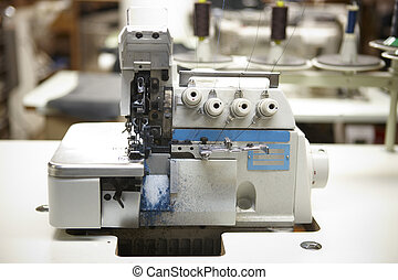 Professional sewing machine in a factory