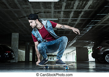 Professional skateboarder in the subway
