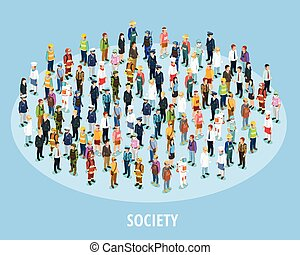 Professional Society Isometric Background - Professional...