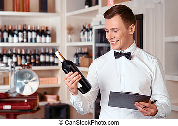 Professional sommelier being involved in work - Like my job...