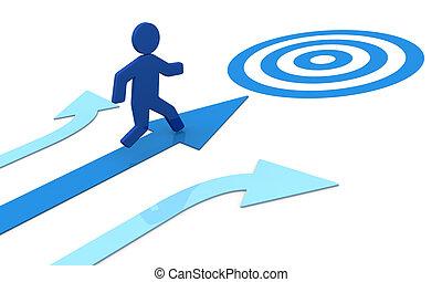 concept image that shows one 3d cartoon man that runs toward the success