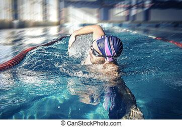 Professional swimmer crawl freestyle