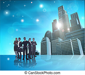 Professional team blue city illustr - Business team of in...