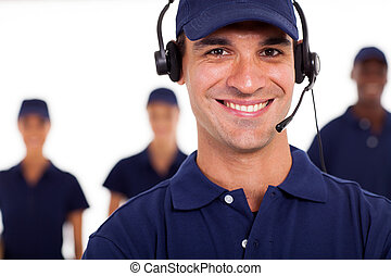 professional technician with headphones on the call