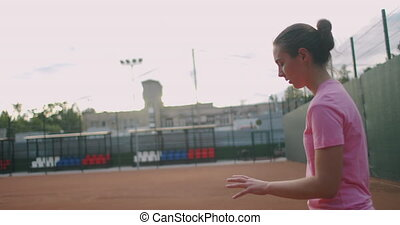 professional tennis, determined sport player girl hitting ...