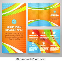 Professional three fold business flyer template, corporate brochure or cover design, print. Vector illustration for funny colorful bright design. Tri-fold layout with waves.
