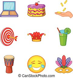 Professional trickster icons set, cartoon style - ...