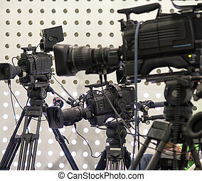 Professional tv camera in live show pavilion. - Professional...