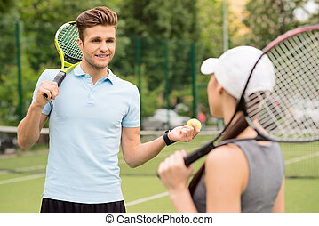 Professional two athletes ready to play tennis