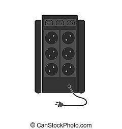 Professional uninterruptible power supply with a large number of sockets and connectors. Rear view. A unit with a network cable. Flat vector illustration