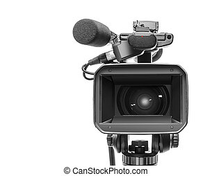 Professional video camcorder isolated over white