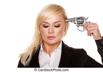 Professional woman holding a gun to her head