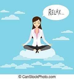 Professional woman meditating sitting on a cloud, lotus yoga...