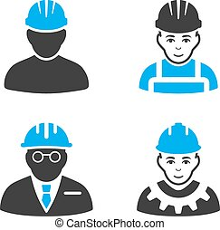 Professional Worker Flat Bicolor Vector Icons