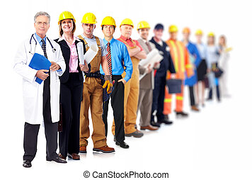 Professional workers group. Business team isolated on white...