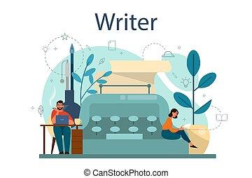 Professional writer or journalist concept illustration. Idea of creative