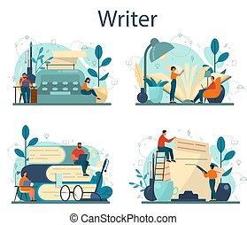 Professional writer or journalist concept illustration set.