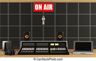 Professionalaudio mixer in a recording studio