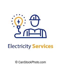 professionale, bulbo, elettricità, elettricista, occupazione, servizi, luce