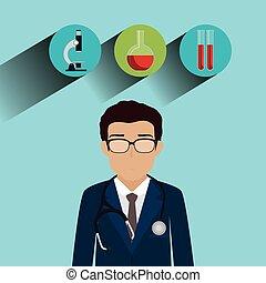 professionale, carattere, avatar, sanità