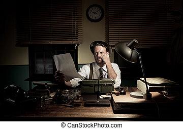 professionale, correzione bozze, suo, reporter, testo