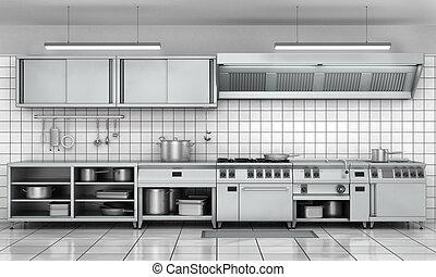 professionale, cucina, facade., vista, superficie, in,...