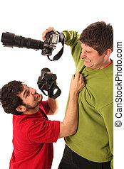 professionale, due, combattimento, fotografi