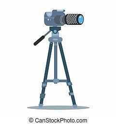 professionale, fotografia, macchina fotografica, statico, ...