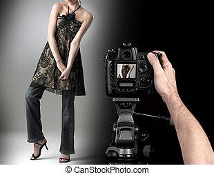 professionale, fotografo, a, studio, moda, colpo, con, uno, model.