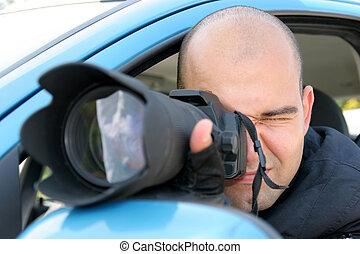 professionale, fotografo, paparazzi, azione