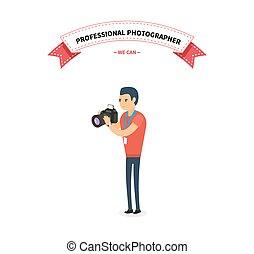 professionale, fotografo, uomo, appartamento, disegno