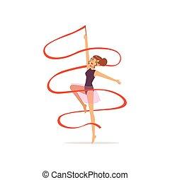professionale, ginnasta, ragazza, ballo, con, rosso, ribbon., professionale, ginnastiche ritmiche, sport., bella donna, carattere, in, viola, leotard, con, skirt., isolato, appartamento, vettore