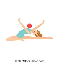 professionale, ginnastiche ritmiche, sportiva, in, leotard blu, compiendo, un, elemento, con, palla, apparato